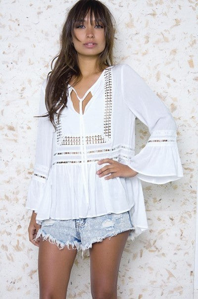 1d41f318d1f23c ... White Boho Bohemian Crochet Long Sleeve Loose Fit Blouse Top South of  Society 2 ...