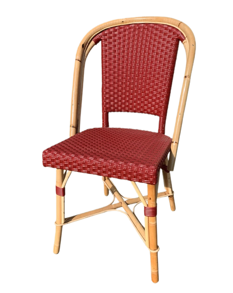 Woven Rattan Fouquet Bistro Chair Ruby Red