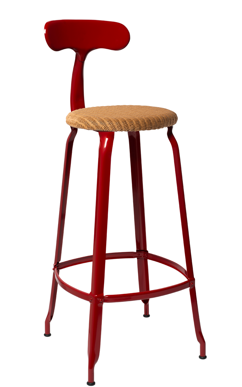 Metal Chair - Natural Woven Seat 75 cm. Glossy Red Brown