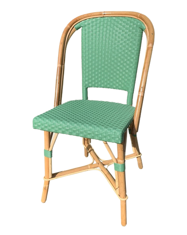 Woven Rattan Fouquet Bistro Chair Green