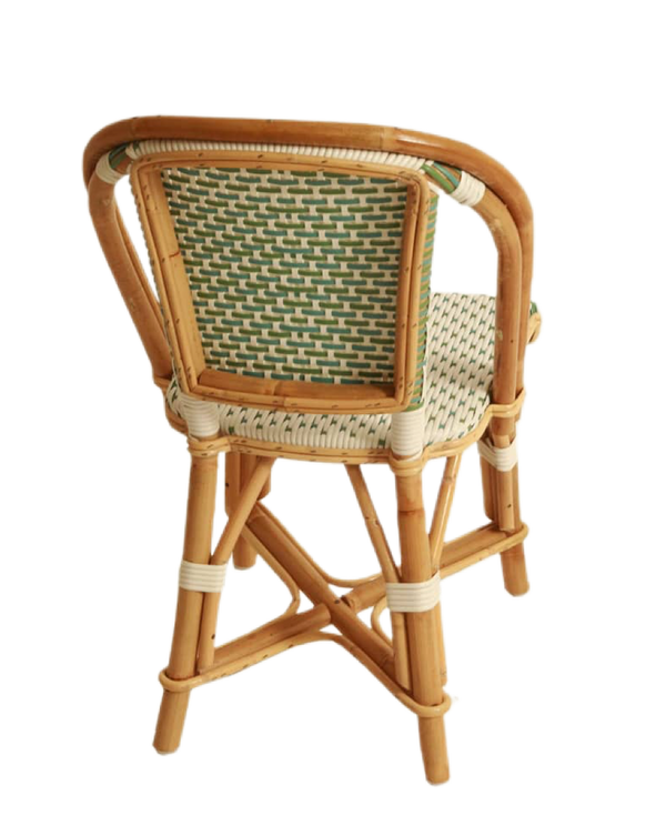Woven Rattan Fouquet Bistro Chair Kids Mint, Sky Blue and White