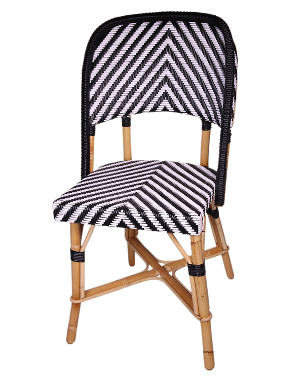 Woven Rattan Fouquet Bistro Chair Chambord S (Black and White)
