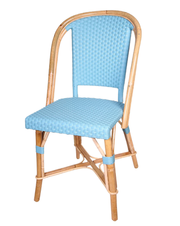 Woven Rattan Fouquet Bistro Chair Sky Blue