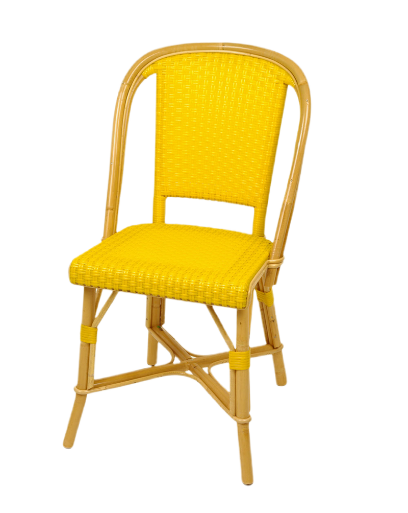 Woven Rattan Fouquet Bistro Chair Yellow