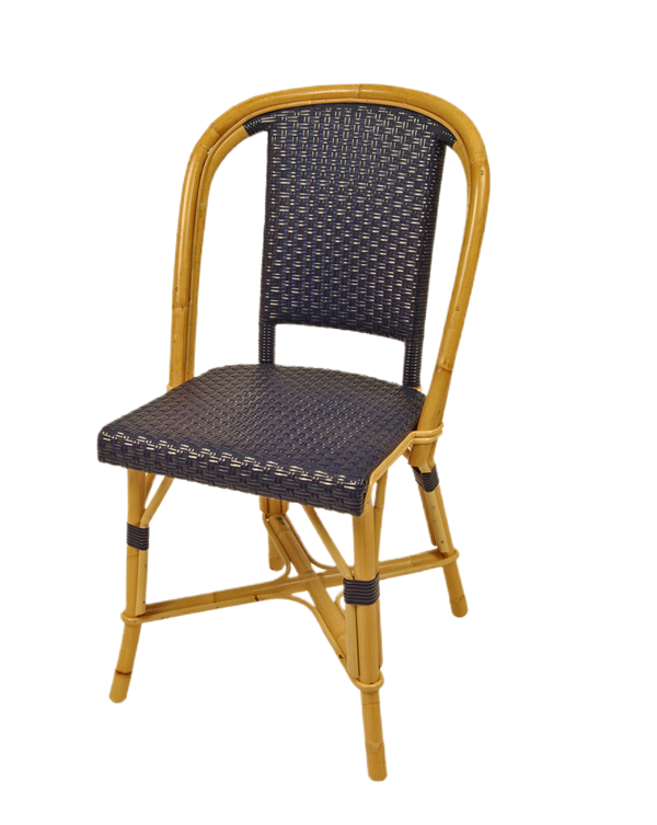 Woven Rattan Fouquet Bistro Chair Navy