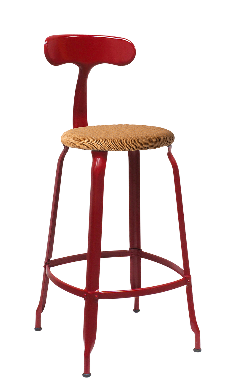 Metal Chair - Natural Woven Seat 65 cm. Glossy Red Brown