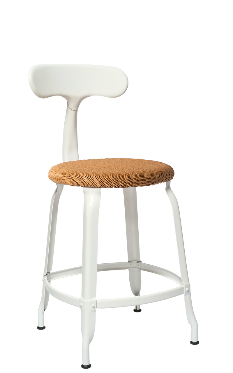 Metal Chair - Natural Woven Seat 45 cm. Glossy White