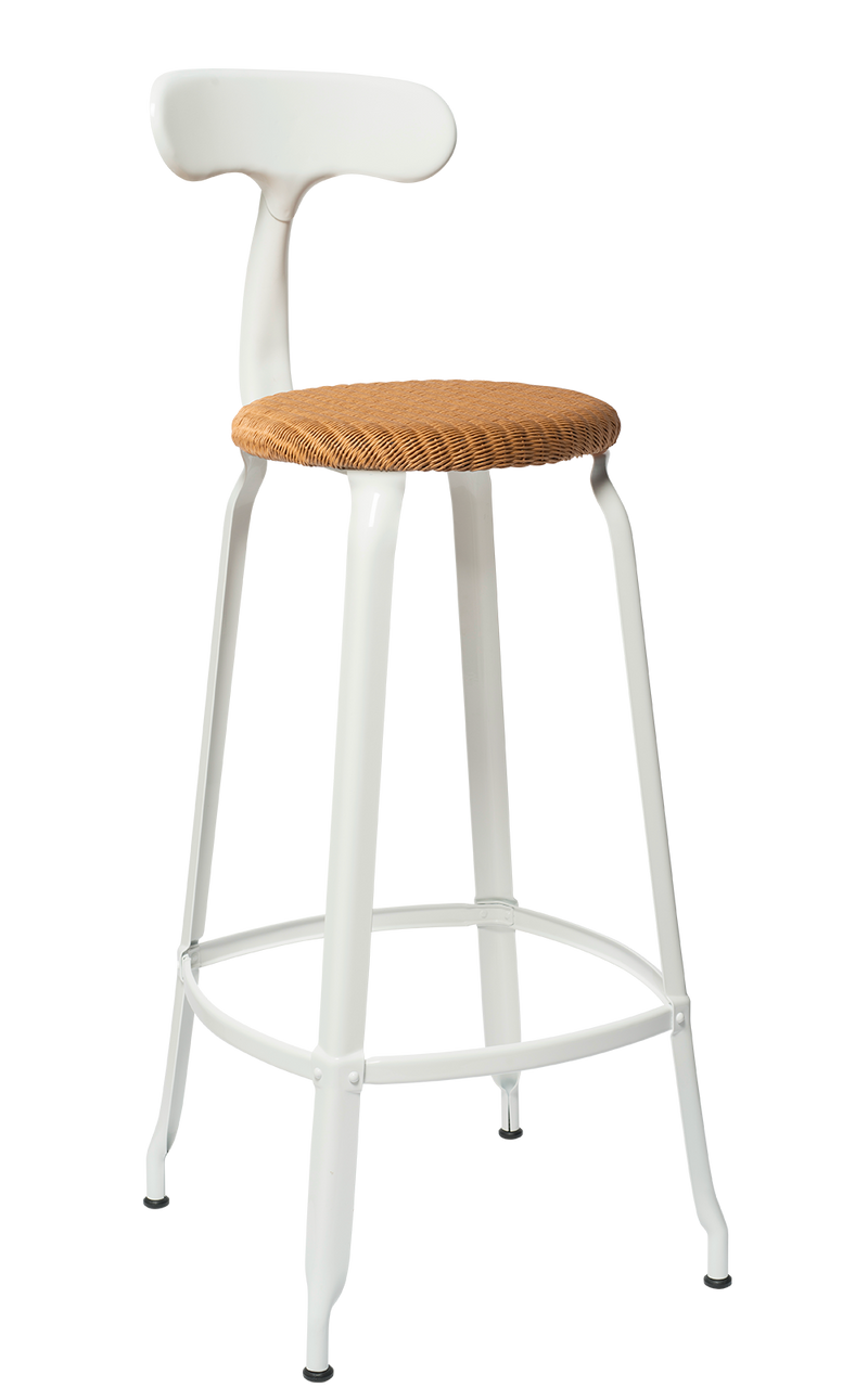 Metal Chair - Natural Woven Seat 75 cm. Glossy White