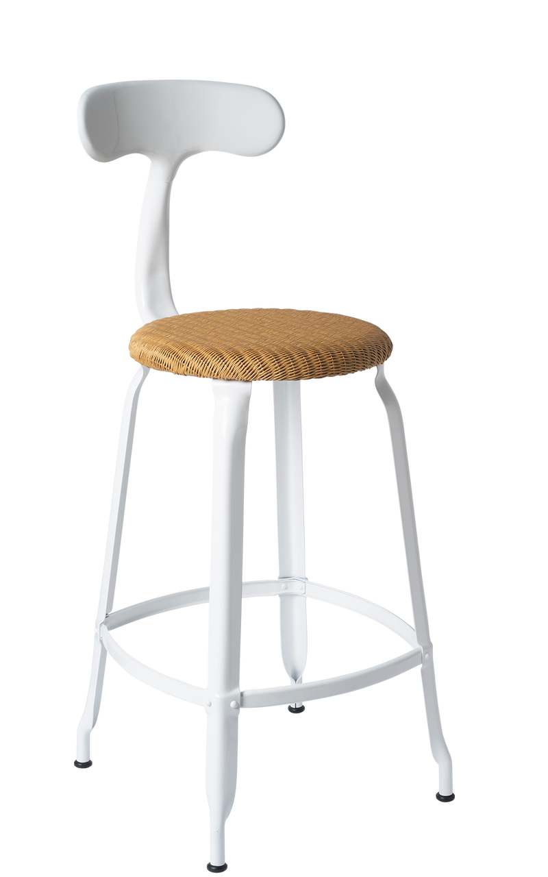 Metal Chair - Natural Woven Seat 65 cm. Glossy White