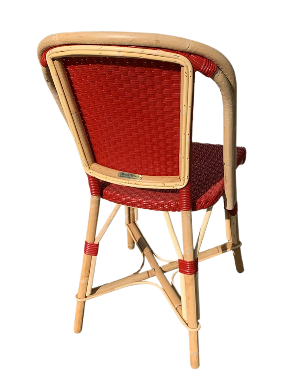Woven Rattan Fouquet Bistro Chair  Carmin Red