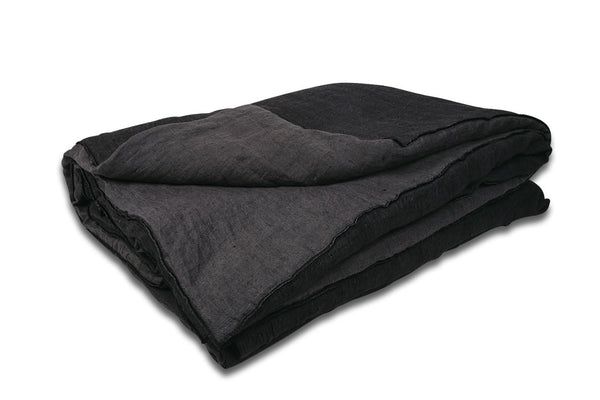 Duvet Cocoon - Crumpled Linen in Charbon/Anthracite