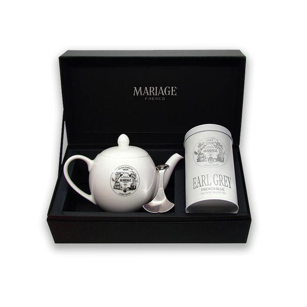 French Blue earl grey tea, teapot, and, mariage freres spoon displayed in a mariage freres box