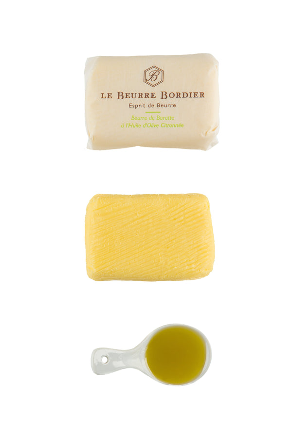 Huile Olive Citronnée Butter - Le Beurre Bordier on White Background