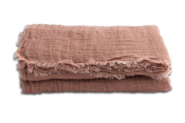 Throw - Fringed Linen in Bois de Rose