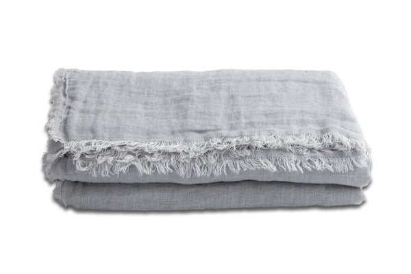 Throw - Fringed Linen in Perle