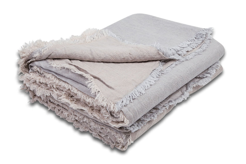 Throw - Crumpled Fringed Linen in Perle