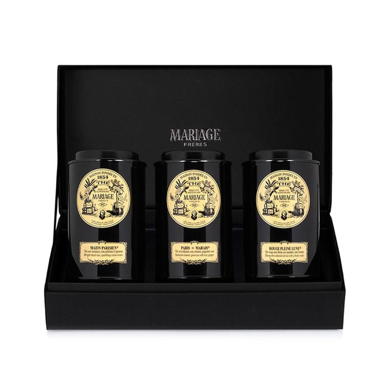 Paris Tea Time Loose Leaf Tea Gift Set By Mariage Freres sitting in a Mariage Freres' Box