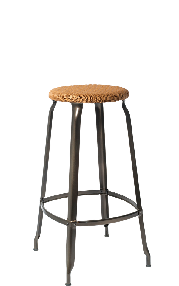 Metal Stool - Natural Woven Seat 75 cm.