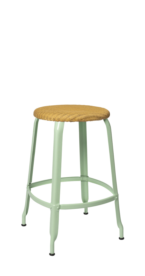Metal Stool - Natural Woven Seat 65 cm.