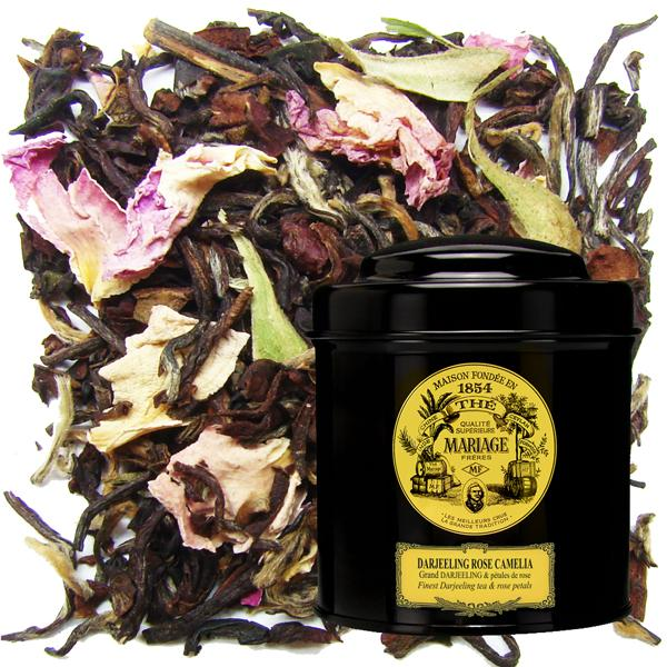 Tea - Darjeeling Rose Camelia by Mariage Freres on display with a Mariage Freres Black Tin
