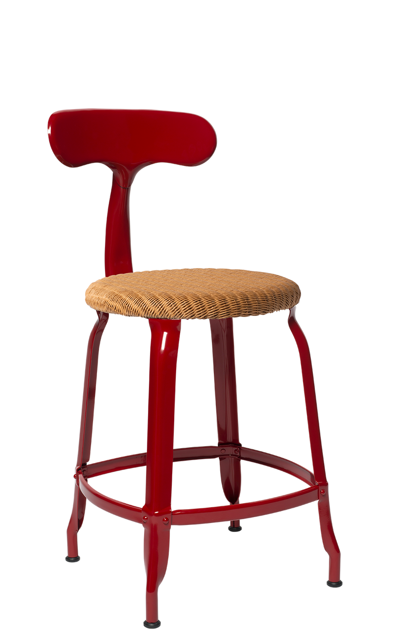 Metal Chair - Natural Woven Seat 45 cm. Glossy Red Brown