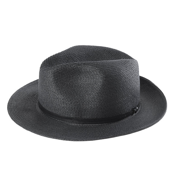Fedora Hat - Black Paper with Leather Band