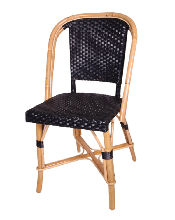 Woven Rattan Fouquet Bistro Chair Black