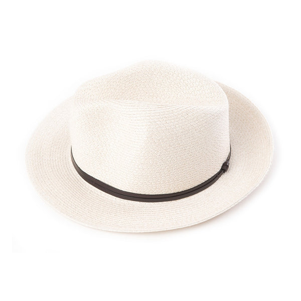 Fedora Hat - Ecru Paper with Leather Band