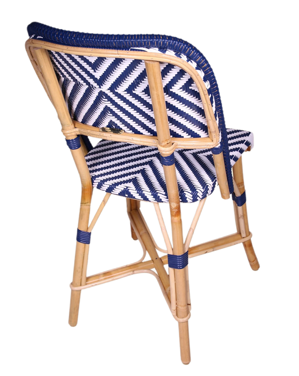 Woven Rattan Fouquet Bistro Chair Chambord V (Blue and White)