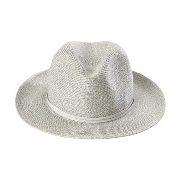 Fedora Hat - Light Gray Paper with Leather Band