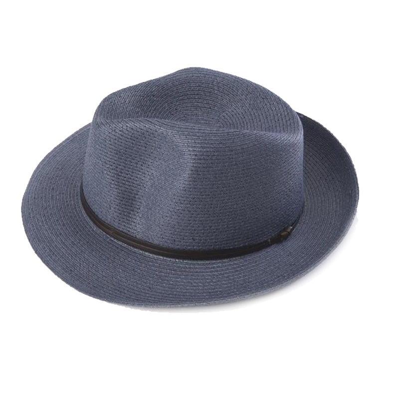 Fedora Hat - Navy Paper with Leather Band