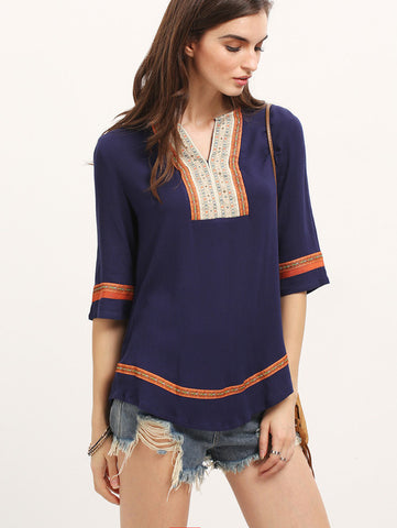 04 -Royalblue Embroidered Loose Blouse