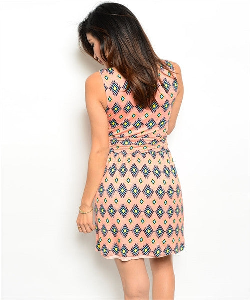 Peach Diamond Print Dress