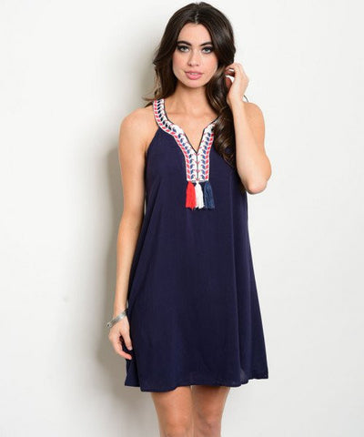 Navy Tassel Dress