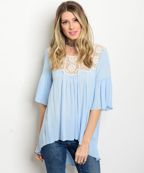 002 - Baby Blue Crochet Blouse