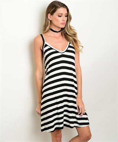 01 - Black & White Striped Dress