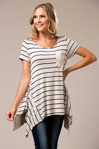Navy Striped Pocket Jersey Top