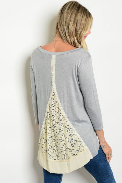 001 - Grey Lace Tunic Top