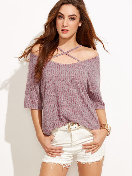 002 - Cold Shoulder Crisscross Top Burgundy Marled