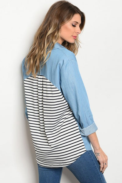 000 - Striped Denim Top