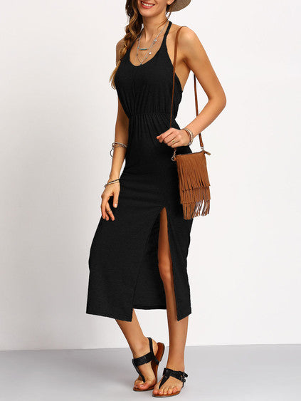 002 - Slit Dress In Black