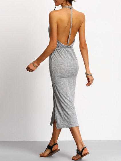 002 - Slit Dress In Grey