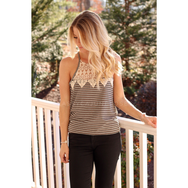 003 - Crochet Striped Racer Tank