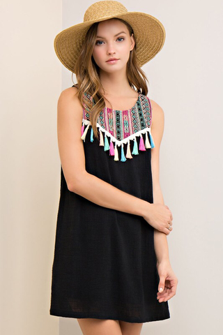 000 - Tribal Embroidery Tassel Dress