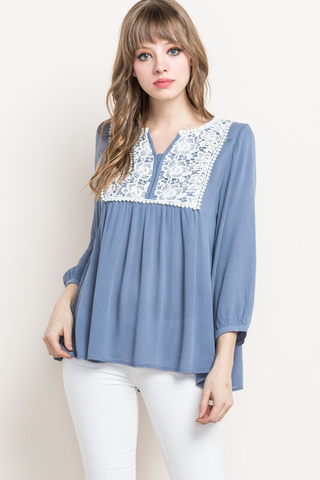 001 - Lace Trim Peasant Top