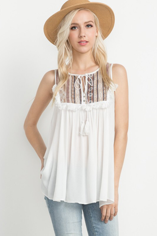 Tassel Embroidered Tank