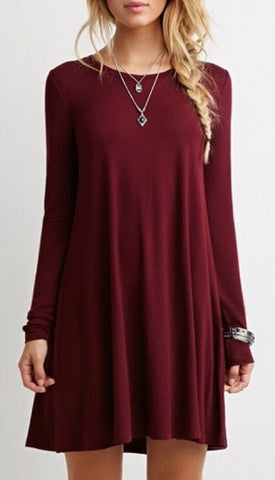 0000 - Red Burgundy Babydoll Dress