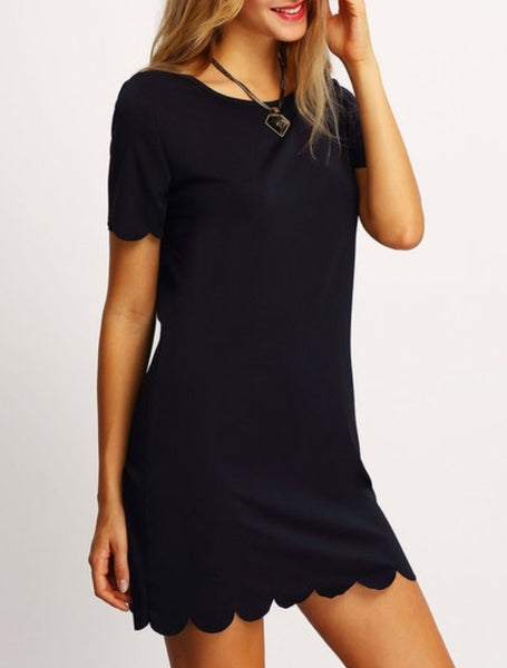 09 - Black Scallop Hem Dress