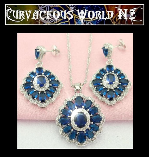 Stylish Dark Blue Flower CZ Necklace earring Set