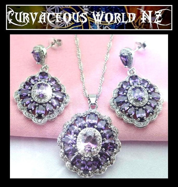 Deep Purple Flower CZ Pendant / Drop Earrings 3 pce set